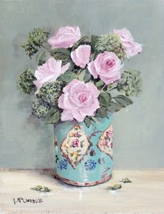 PRINT ON PAPER - Roses in a Vintage Tin - Postage is included Australia Wide