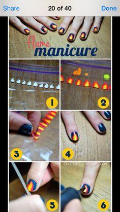 Faire le motif désirer sur un sac plastique et le transférer délicatement sur l'ongle pré-verni lorsque sec.