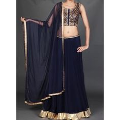 Lashkaraa Navy Blue Gotta Patti Embroidered Lehenga