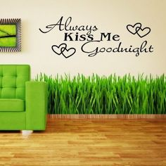 Toprate(TM) Always Kiss Me Goodnight Hearts Vinyl Wall Art Decal Removable Wall Art Decal Sticker Decor Mural DIY Vinyl Décor Room Home
