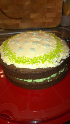 Chocolate and green cake for mcmillian cancer cake sale