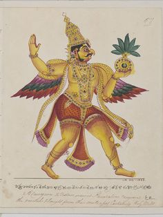 Trichinopoly, India (probably, made)  Date: ca. 1825. Garuda, the 'vahana' of Vishnu, returning with the vase of Amrita, which he had stolen from the gods in order to free his mother from Kadru, mother of serpents. The 'vahana' is the animal mount or vehicle of a Hindu god or goddess. From a series of 100 drawings of Hindu deities created in South India.