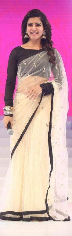 Pinterest: @Littlehub || Six yard- The Saree ❤•。*゚|| Samantha in payal singhal saree