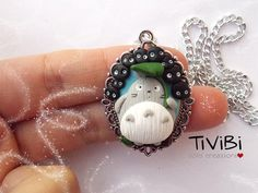 Totoro and Susuwatari cameo necklace Studio Ghibli jewelry Miyazaki gadget clay creations
