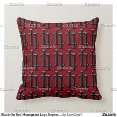 Black On Red Monogram Logo Repeat Pattern Throw Pillow Custom Pillows, Decorative Throw Pillows, Monogram Logo, Repeating Patterns, Knitted Fabric, Knitting, Red, How To Make, Color
