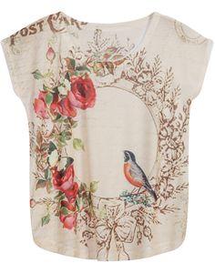Apricot Sleeveless Floral Bird Print T-Shirt 7.99