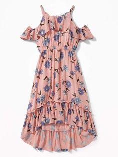 13a129b91b Old Navy Ruffled Cold-Shoulder Hi-Lo Hem Dress for Girls Girls Dresses  Online