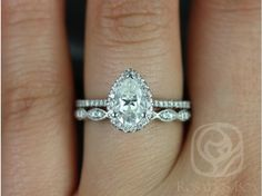 Rosados Box Tabitha 8x5mm & Christie White Gold Pear FB Moissanite and Diamonds Halo Wedding Set
