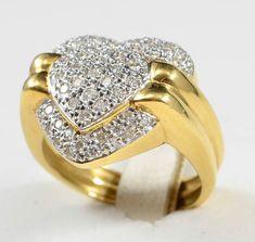 Anel em 2 tons de ouro 18k (coração) com pave de brilhantes pesando +- 1.00 cts - aro 21 - PT 8.7 gr