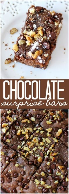 Chocolate Surprise Bars - Topped with crumbled walnuts and rich chocolate morsels, these are the easiest and most delicious homemade bars you'll ever make!