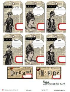 Free Printable Download – Vintage Art Journaling Tags