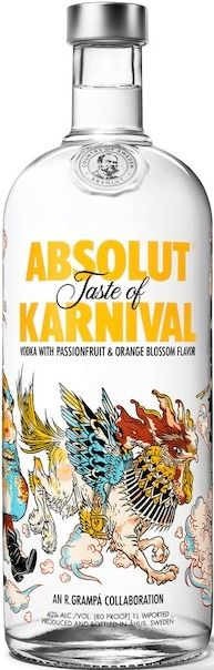 Absolut KARNIVAL | Passion fruit & orange blossom flavored vodka (same as Absolut MIAMI) (Brazil, Colombia, Mexico) | Special bottles