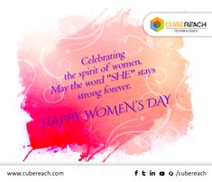 A woman is an epitome of beauty, wisdom and care. She has climbed the mountains and dived into the ocean; she has matched the steps with every man in the world. International Women's Day celebrates the power of women – their rights and role in our lives and society. On this special occassion, #CubeReach wishes every special #womenhood in the world a happy and blissful Womens Day!