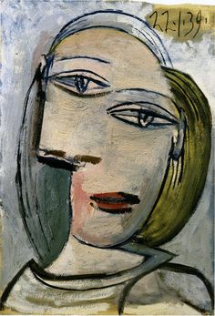 Picasso: Portrait of a woman (Marie-Thérèse) 1939 - - Pablo Picasso, Kunst Picasso, Art Picasso, Picasso Paintings, Portrait Picasso, Picasso Drawing, Giacometti, Georges Braque, Paul Gauguin