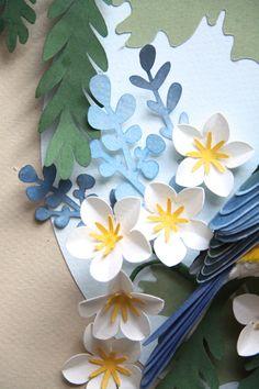 close up of paper bird art for stamp Diana Beltran Herrera 3d Paper Art, Paper Artwork, Diy Paper, Paper Flowers Diy, Flower Crafts, Paper Cutting, Papier Diy, Paper Plants, Origami Bird