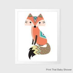 Fox Wall Art - Fox Nursery Decor - Nursery Art - Tribal Fox Kids Wall Art - Tribal Nursery Art - Tribal Fox Wall Decor - Tribal Fox Wall Art