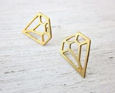 boucles diamant post doré de Shlomit Ofir