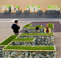 This clever and eco-friendly idea for public seating includes wooden benches and grassy platforms supported by wood and stone bases, bringing greenery to spaces where there was none. Spelling out the word 'TIME', the benches were installed by designer Dominik Schwarz at the Piazza-Tribunale in Bolzano, Italy for the Time Code Festival.