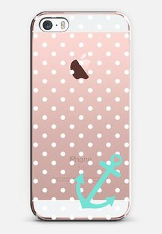 White Pastel Teal Nautical Polka Dot iPhone SE case by Organic Saturation | Casetify