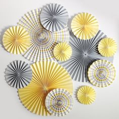 """Variety Set of Lemon Yellow and Elephant Gray 4"""", 6"""" Paper & Cardstock Fans. $45.00, via Etsy."""