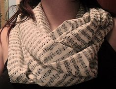 Sheet Music Infinity Scarf Custom Black and by SharpDressedGeek