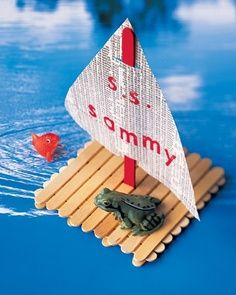 Popsicle stick craft. Sailboat theme.  Nautical theme. Boat theme.