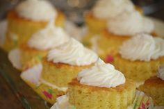Triple lemon tea cakes.  Cake, filling and frosting all have lemon in them.