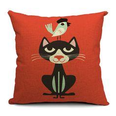 Nordic gato encantador dos desenhos animados Animal engraçado linho sofá de tecido de algodão meninas carro casa decorativo jogar travesseiro capa de almofada 18 '' em Capas de almofadas de Casa & jardim no AliExpress.com   Alibaba Group