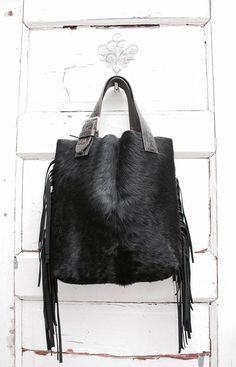 60b271e4fcd7 Hank   Henrietta Tote bag Black CowHide Western Purse Boho