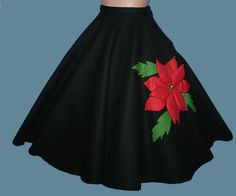 Vintage 50s Black Felt Circle Skirt Poinsettia