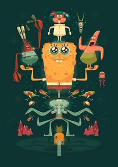 Nautical Nonsense: A Tribute to Spongebob Squarepants by James Gilleard Illustrations Pop, Illustration Pop Art, Character Illustration, Spongebob Memes, Spongebob Squarepants, Wallpaper Spongebob, Bubble Buddy, Wow Art, Power Rangers