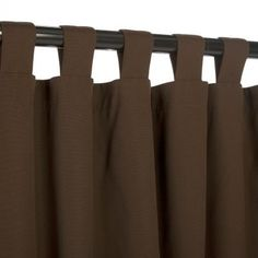Sunbrella Outdoor Curtain with Tabs - Bay Brown - 54 in X 108 in by Sunbrella. $119.99. Color: Bay Brown. Width:. Total Length:. Weight Capacity:. Material:. Hatteras Outdoors is now offering outdoor curtains made from Sunbrella fabric. The true and durable colors of the Sunbrella line will add distinction and a real flow to your outdoor surroundings. Ideal for porch, patio, gazebo or any other outdoor structures, our Sunbrella outdoor curtains are made to withstand t...