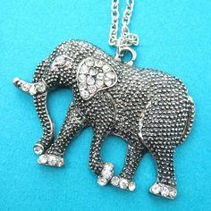 Elephant Pendant Animal Necklace in Dark Silver with Rhinestones
