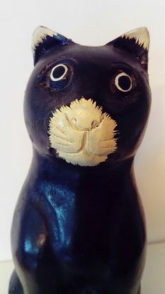 Solid Wooden Wood Carved Black and White Cat Figurine   eBay