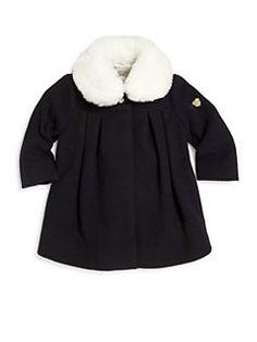 Armani Junior - Baby's Removable Faux Fur-Collar Coat