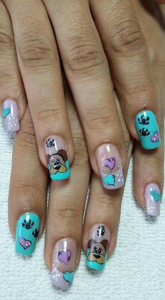 New fails art 2019 french Ideas Animal Nail Designs, Nail Polish Designs, Cute Nail Designs, Cute Acrylic Nails, Cute Nail Art, Beautiful Nail Art, Ruby Nails, Dog Nails, Finger