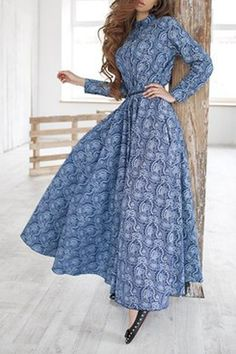Print Stand Neck Long Sleeve Maxi Dress