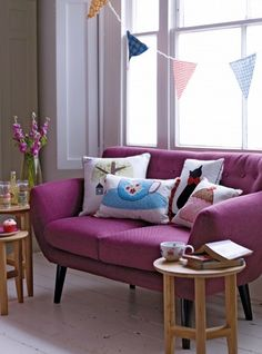 I love the shape and colour of this sofa and just the whole look.