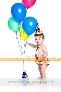 Standing with balloons