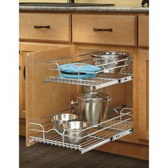 Shop Rev-A-Shelf 14.75-in W x 22.06-in D x 19-in H 2-Tier Metal Pull Out Cabinet Basket at Lowes.com