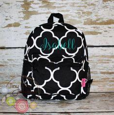 d10c753c2ecd Toddler Backpack - Black Quatrefoil Booksack - Personalized School Bag