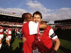 Ian Wright and Tony Adams. Arsenal Fc, Arsenal Players, Arsenal Football, Best Football Players, Football Team, Tony Adams, Dennis Bergkamp, Ian Wright, Football Pictures