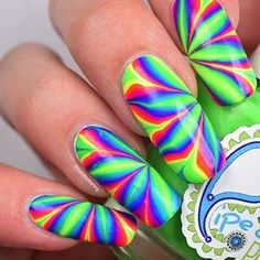 Whats Up Nails - Pure Color Watermarble Tool Crazy Nail Art, Cute Nail Art, Cute Nails, Pretty Nails, Rainbow Nails, Neon Nails, Neon Rainbow, Gel Nail Designs, Cute Nail Designs