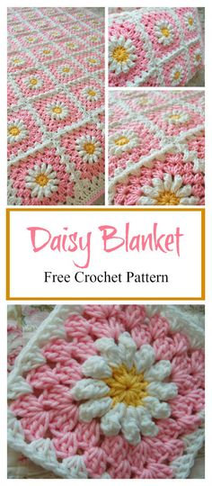 Crochet Square Pattern Daisy Granny Square Baby Blanket Free Crochet Pattern - The adorable Daisy Granny Square Baby Blanket Free Crochet Pattern is made up of cheerful, colorful little daisies. There are many options to personalize. Granny Square Pattern Free, Granny Square Häkelanleitung, Granny Square Crochet Pattern, Crochet Squares, Baby Granny Square Blanket, Crochet Square Blanket, Free Crochet Square, Granny Granny, Granny Square Projects