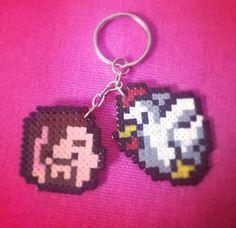 Game of Thrones :The Hound/Chicken keyring perler bead sprite by Worldof8bitCraft