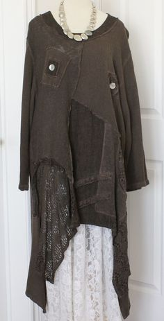 Beautiful SARAH SANTOS Brown Cotton Lagenlook Tunic https://www.pinterest.com/chokolotte/