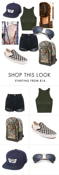 """Six Flags Outfit"" by marvelfreak ❤ liked on Polyvore featuring Topshop, Marvel, Vans, Ray-Ban and Goliath"