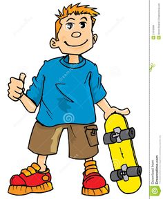 cartoon kids cartoon of a kid with a skateboard stock images image 21018364 - Kids Cartoon Picture