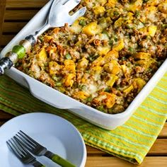 Delicata Squash and Sausage Gratin | KalynsKitchen.com | 6 servings: use turkey sausage and reduced fat cheese to make each serving around 300 calories