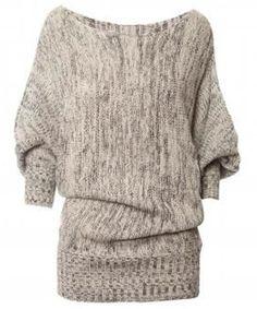 Chic Slash Collar 3/4 Batwing Sleeve Sweater For Women